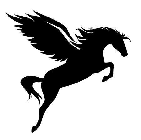 Illustration pour jumping pegasus - winged horse black vector design - image libre de droit