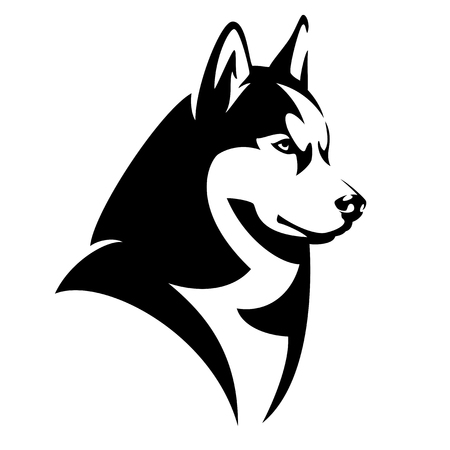 Ilustración de Husky dog black and white design - animal head side view vector illustration - Imagen libre de derechos