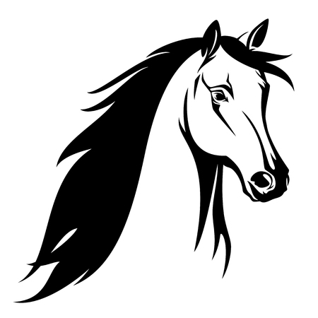 Illustration pour Horse head black and white vector design. - image libre de droit