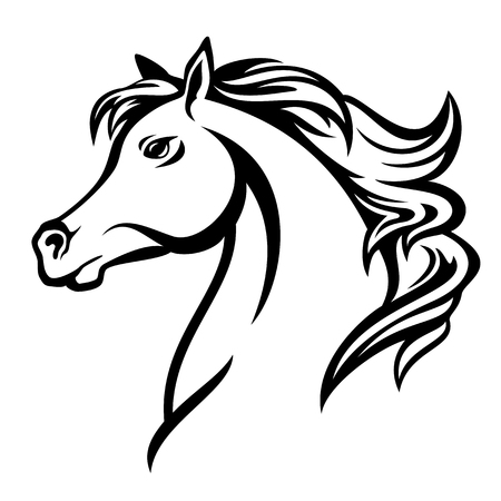 Illustration for arabian horse profile head - black and white vector design - Royalty Free Image