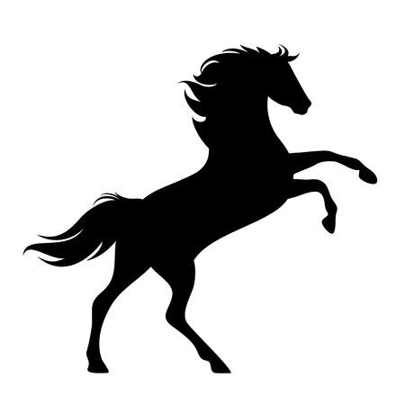 Illustration pour rearing up horse side view silhouette - black vector mustang design - image libre de droit