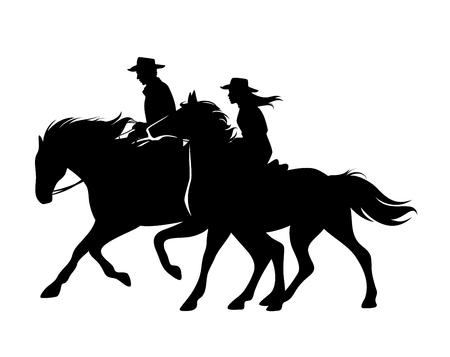 Illustration pour Horseback cowboy and cowgirl - man and woman riding horses wild west theme black and white vector silhouette design - image libre de droit