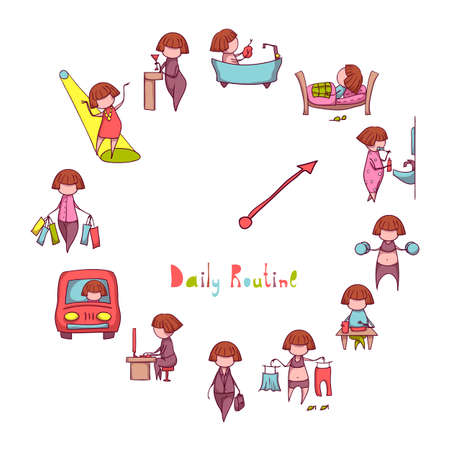 Illustration for Daily Routine. Vector set with funny girl. - Royalty Free Image