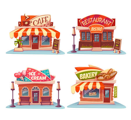 Illustration for set of Cafe, restaurant, ice-cream shop and bakery. - Royalty Free Image