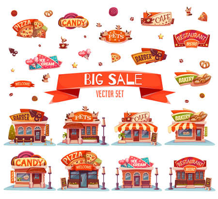 Illustration pour Vector set of Cafe, restaurant, ice-cream shop and bakery. - image libre de droit