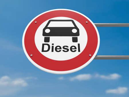 Photo pour German Traffic Sign Environmental Protection Concept: Diesel Cars Prohibited  Driving Ban, 3d illustration - image libre de droit