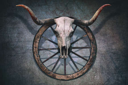 Photo pour Long horned bull skull and old west wagon wheel hanged on a scratched wall - image libre de droit