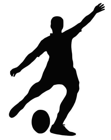 Sport Silhouette - Rugby Football Kicker place kicking the ball