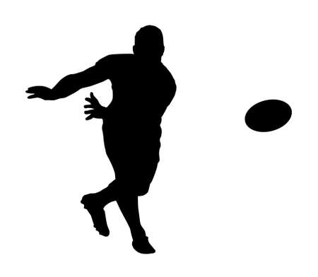Sport Silhouette - Rugby Football Scrumhalf Fast Backline Pass