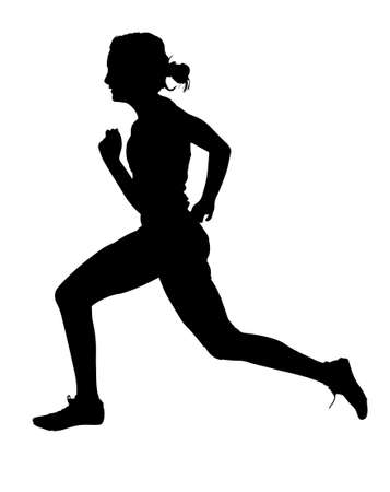 Ilustración de Side Profile of Speeding Female Track Runner Silhouette - Imagen libre de derechos