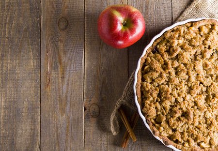 Photo for Apple pie with crumble. A piece of cake. - Royalty Free Image