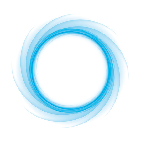 Illustration for Blue Circle of transition to white as magical swirl waves - Royalty Free Image