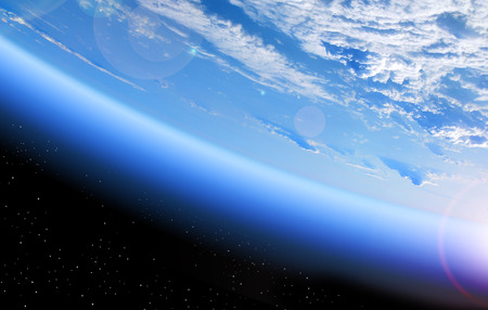 Photo pour view of the Earth from space, blue planet and deep black space - image libre de droit