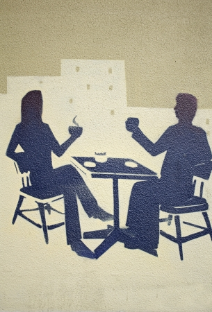 Couple in bar drinking coffe mural