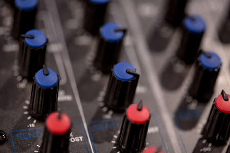 Photo for mixer sockets and controls dimmers for fine tuning macro - Royalty Free Image