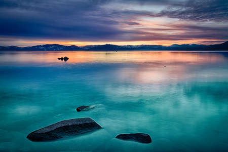 Photo for Reflection of clouds in a lake, Lake Tahoe, Sierra Nevada, California, USA - Royalty Free Image
