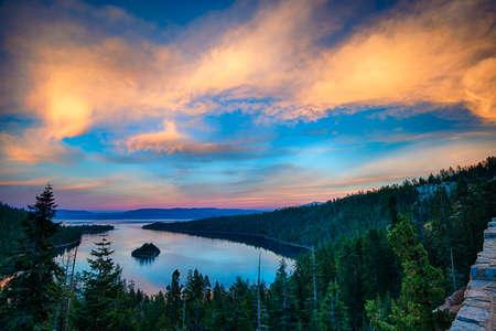 Photo for High angle view of a lake, Lake Tahoe, Sierra Nevada, California, USA - Royalty Free Image