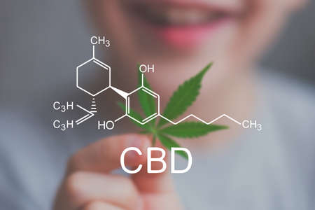 Photo pour Smiling kid child holding a hemp leaf. Concepts of using marihuna for medicinal purposes for children, Medical use of non-psychoactive cannabidiol CBD medical - image libre de droit