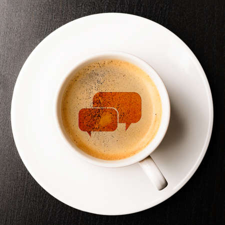 Photo for communication   cup of fresh espresso with bubbles sign, view from above - Royalty Free Image