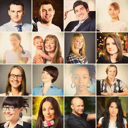 Foto de set of different people portraits, warm colors toned - Imagen libre de derechos