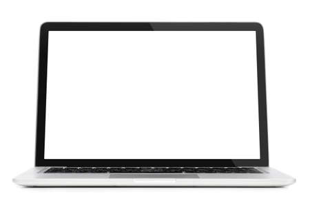 Photo for Modern laptop computer with blank screen isolated on white background - Royalty Free Image