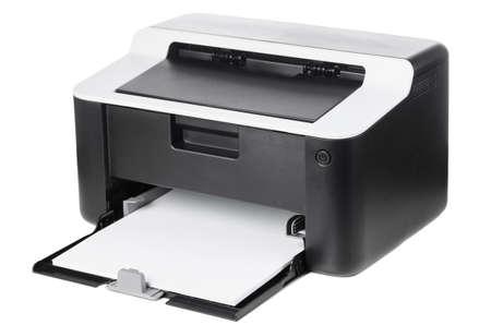Foto de Compact laser home printer isolated on white background - Imagen libre de derechos