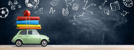Photo pour Back to school background. Car delivering books and apple against blackboard with education symbols. - image libre de droit