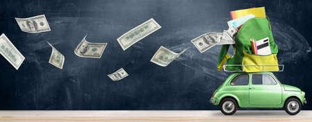 Foto de Back to school expenses background. Money flying away from car delivering backpack full of accessories against blackboard - Imagen libre de derechos