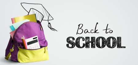 Photo pour Back to school shopping backpack. Accessories in student bag against chalkboard - image libre de droit