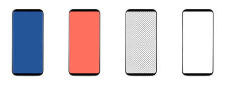 Photo for set of 4 bezel-less smartphones with blank transparent screen, isolated on white background . Screen is cut out with path - Royalty Free Image