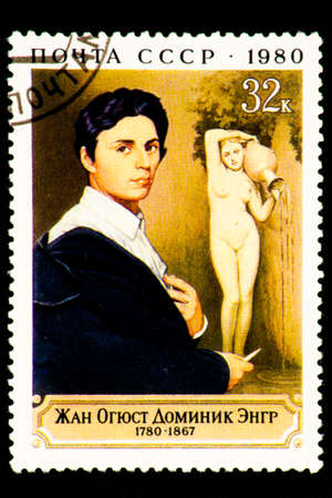 Photo for 07.24.2019 Divnoe Stavropol Territory Russia postage stamp USSR 1980 Jean Auguste Dominique Zngr 1780-1867 portrait of the artist on the background of sculpture - Royalty Free Image