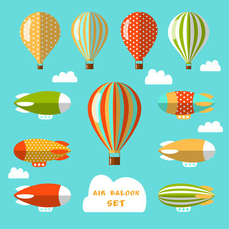 Illustration pour Set of air balloons and airships. Flat vector illustration. Colorful elements for web design and design of flyers, cards or children goods. - image libre de droit
