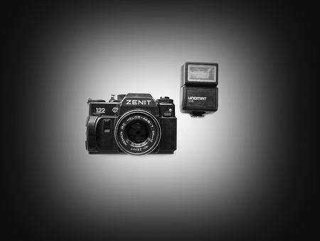 Photo for Old camera Zenith vintage style retro background wallpaper photography style design lens - Royalty Free Image