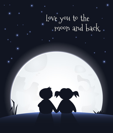 Illustrazione per Love you to the moon and back - Immagini Royalty Free