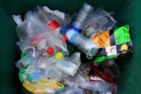 Photo pour Top view bin, Garbage many trash pile of waste plastic bag and bottle, Waste plastic many - image libre de droit