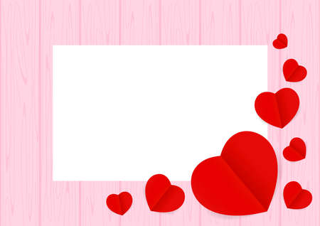 Ilustración de Valentine pink Background and copy space, Heart shape red on the pastel pink wood table and top view for background, Valentines wooden frame and Red Heart shaped for banner graphic design love card - Imagen libre de derechos