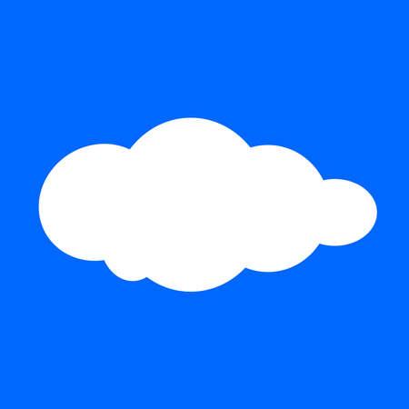 Illustration pour cloud, clouds shape, white clouds isolated on blue background, clip art cartoon clouds, illustration cloud for clipart and icon logo flat, single white cloud fluffy cartoon on blue square - image libre de droit