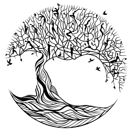 Illustration pour Black tree of life on white background - image libre de droit
