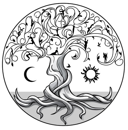 Illustration pour Tree of life with sun and moon on white background - image libre de droit