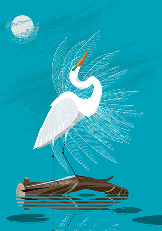 Illustration pour Great White Egret stands on a log against the background of the night sky - image libre de droit