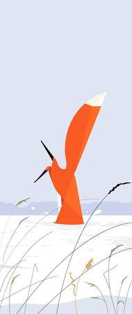 Illustration pour Fox dives into a snowdrift in pursuit of a mouse - image libre de droit