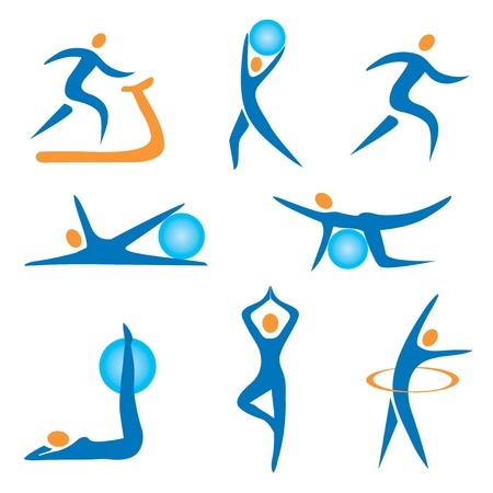 Foto de Set of sport, fitness, exercise colorful icons. - Imagen libre de derechos