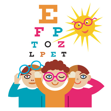 Illustration pour The sun as an eye doctor examining children using eye chart. - image libre de droit