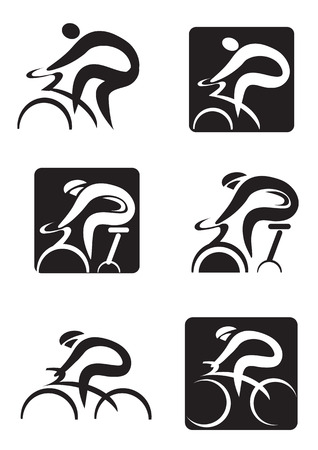 Illustrazione per Set of  black icons of spinning  and cycling.  Vector illustration - Immagini Royalty Free
