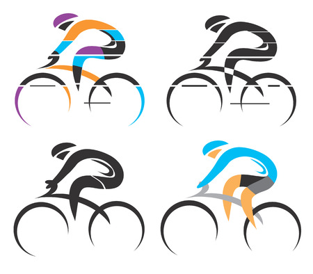 Four modern stylized colorful and black symbols of sport cyclist. Vector illustration.