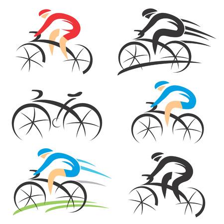 Illustration pour Six modern stylized colorful and black symbols of sport cyclist. - image libre de droit