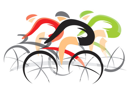 Illustrazione per Colorful expressive drawing of three racing cyclists. illustration. - Immagini Royalty Free