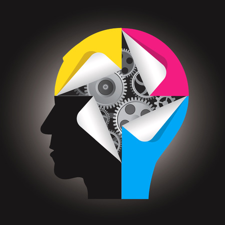 Illustration pour Human head silhouette with gear and  stickers in printing inks. Concept for presenting of color printing.  illustration. - image libre de droit