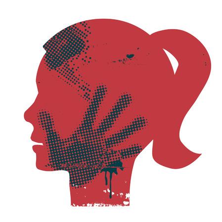 Ilustración de Young Woman head grunge silhouette with hand print on the face. Vector available. - Imagen libre de derechos