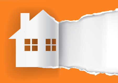 Ilustración de House for sale advertisement template.  Illustration of ripped paper paper house symbol with place for your text or image.  Vector available. - Imagen libre de derechos